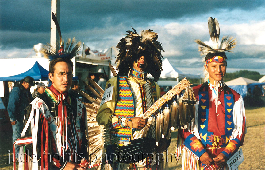 3 dancers at Hobbema Powwow, Alberta - by Plains Cree First Nation photographer Jude Norris