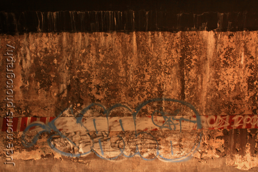 Church station wall with tag, Brooklyn - by Plains Cree First Nation photographer Jude Norris